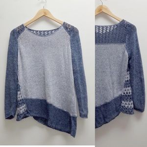 Chico's Two Toned Blue Knit Sweater Large